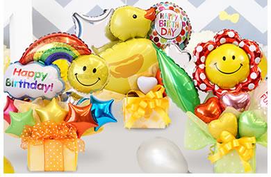 1歳の誕生日から、いろいろな年齢のお祝いに♪一番人気は「スマイリーフラワー」オリジナルバルーン♪