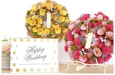 幸せを願う気持ちを花風水リースに込めて贈る電報
